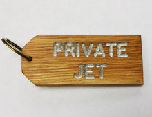 Load image into Gallery viewer, 'PRIVATE JET' Oak-engraved keyring