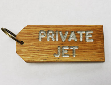 'PRIVATE JET' Oak-engraved keyring