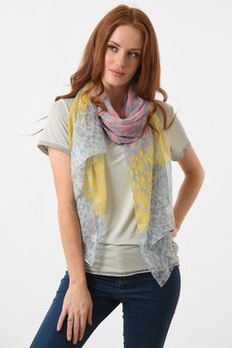 Pink, Grey and Mustard Animal Print Scarf