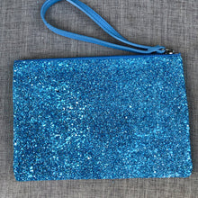 Load image into Gallery viewer, Sparkly Blue Clutch Bag with Leather Strap