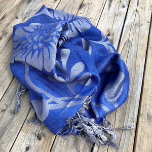 Reversible Blue/Grey Floral Wrap Scarf