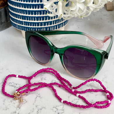 Fuchsia Pink Bead Glasses Chain