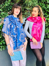 Load image into Gallery viewer, Reversible Fuchsia/Grey Floral Wrap Scarf