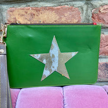 Load image into Gallery viewer, Green Recycled Leather Hand Clutch Purse with a Gold/White Fur Star (Only one available!)