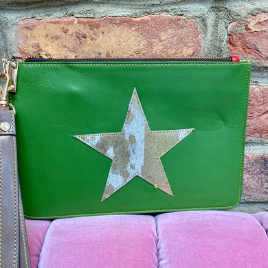 Green Recycled Leather Hand Clutch Purse with a Gold/White Fur Star (Only one available!)