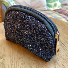 Load image into Gallery viewer, Sparkly Navy Glitter Zip Up Purse
