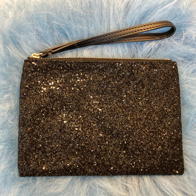 Sparkly Black Clutch Bag with Leather Strap