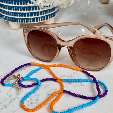 Orange, Turquoise & Purple Bead Glasses Chain
