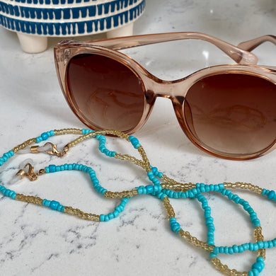 Turquoise & Gold Bead Glasses Chain