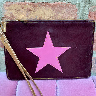 Dark Brown Animal Fur with Pink Star Recycled Leather Hand Clutch (Only one available!)