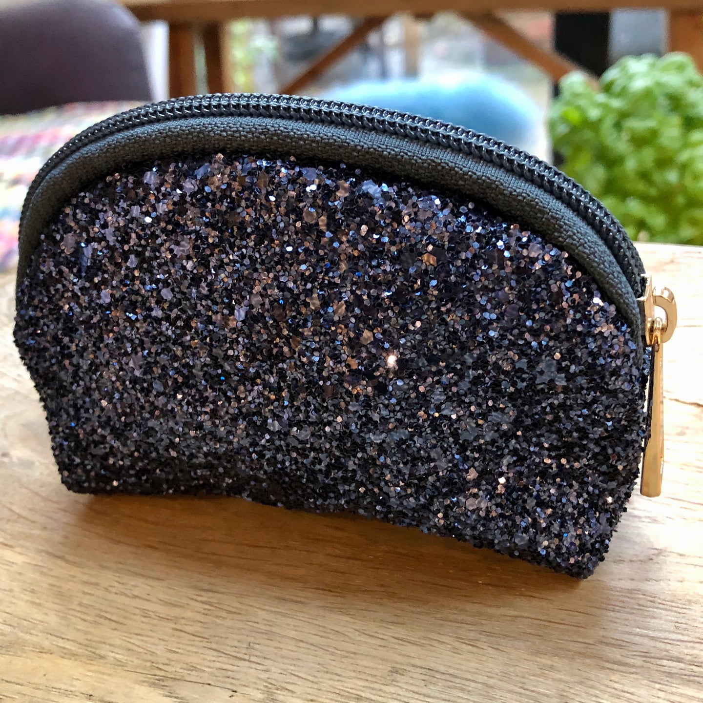 Sparkly Navy Glitter Zip Up Purse
