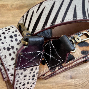 Zebra Print Recycled Leather Bag Strap (7 left!)
