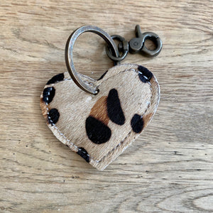 Leopard Print Heart Recycled Leather Key Ring/Bag Charm