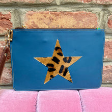 Load image into Gallery viewer, Navy Blue Recycled Leather Hand Clutch Purse with a Leopard Print Star