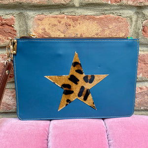 Navy Blue Recycled Leather Hand Clutch Purse with a Leopard Print Star