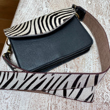 Load image into Gallery viewer, Zebra Print Recycled Leather Bag Strap (7 left!)