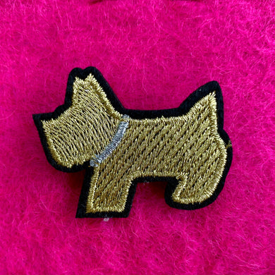 Gold Embroidered Scottie Dog Pin Badge