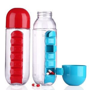 600ml Water Bottle Daily Pill Storage Organizer Box Outdoor Drinking Bottles Anti-leak Drinkware