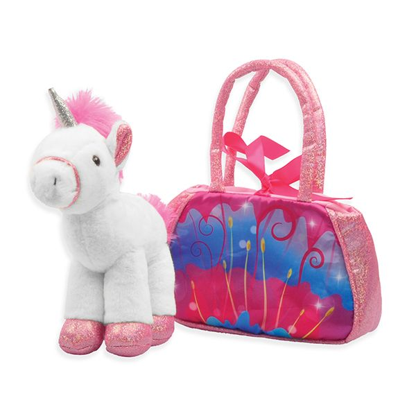 Linzy Toys 8-Inch Magical Unicorn Sparkling Carrying Purse (Pink Unicorn)