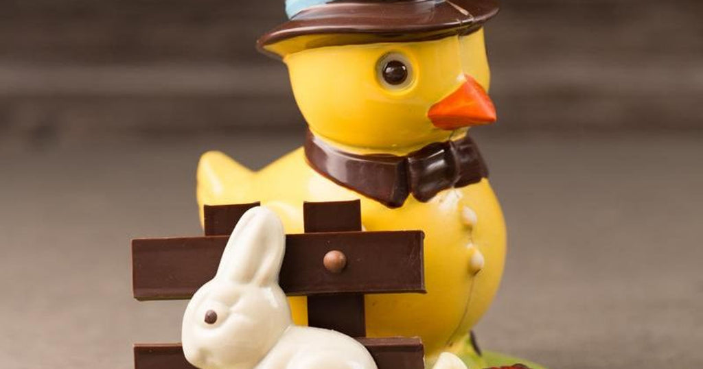 Easter Chocolate Duck with Rabbit Cross Hand Painted Accents