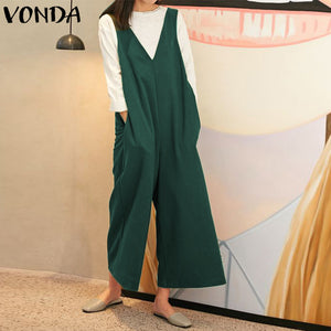 efefc27efb VONDA Rompers Womens Jumpsuit Plus Size 2018 Sexy Sleeveless V Neck Loose  Playsuits Wide Leg Pants Casual Vintage Overalls