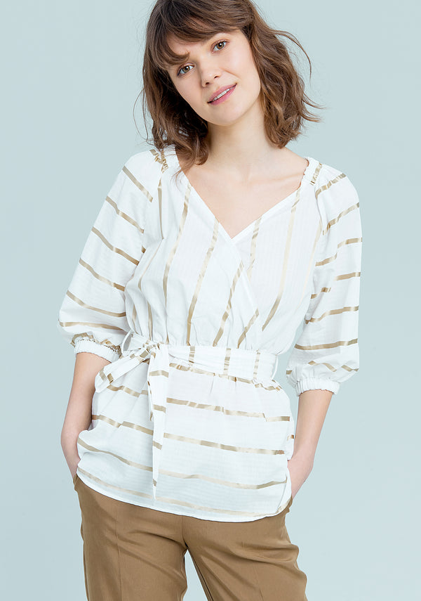 Horizontally striped blouse-FRACOMINA-FR19SM537