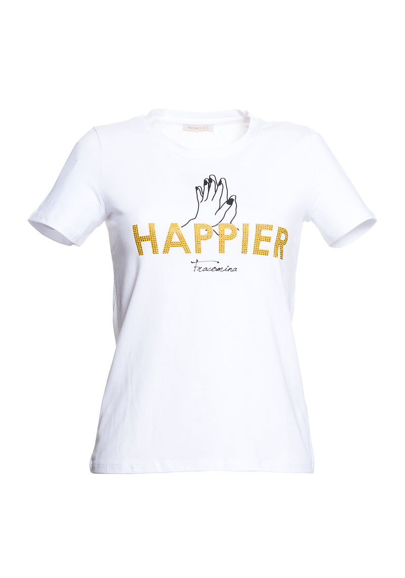 T-shirt con stampa Happier