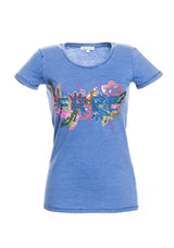 T-shirt con paillettes multicolor