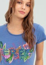 T-shirt con paillettes multicolor-FRACOMINA-FR20SP314