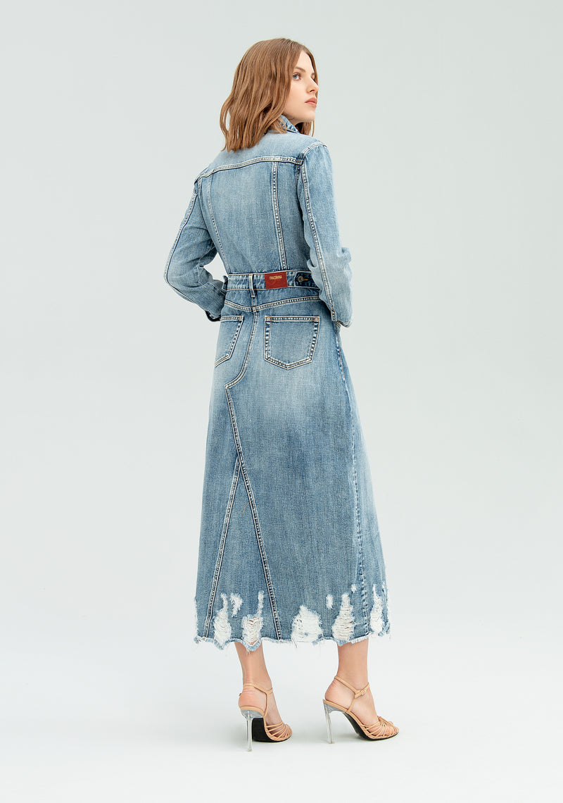 Trench lungo di jeans