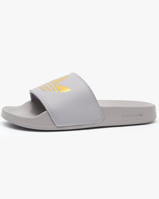 Adidas Originals Womens Adilette Lite - Glory Grey / Gold Metallic UK 4 FW05424 4060517498383 Adidas Originals Flip Flops & Sliders