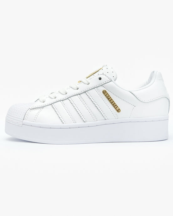 Adidas Originals Womens Superstar Bold - Cloud White / Gold Metallic UK 4 FW45204 4060517572137 Adidas Originals Trainers