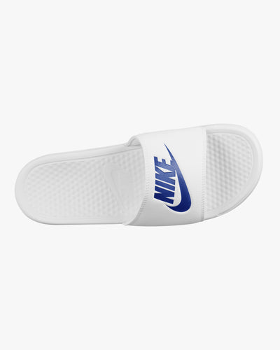 Nike Benassi JDI Sliders - White / Varsity Royal Nike Flip Flops & Sliders Nike Benassi JDI Sliders - White / Varsity Royal - Jeans and Street Fashion from Jeanstore