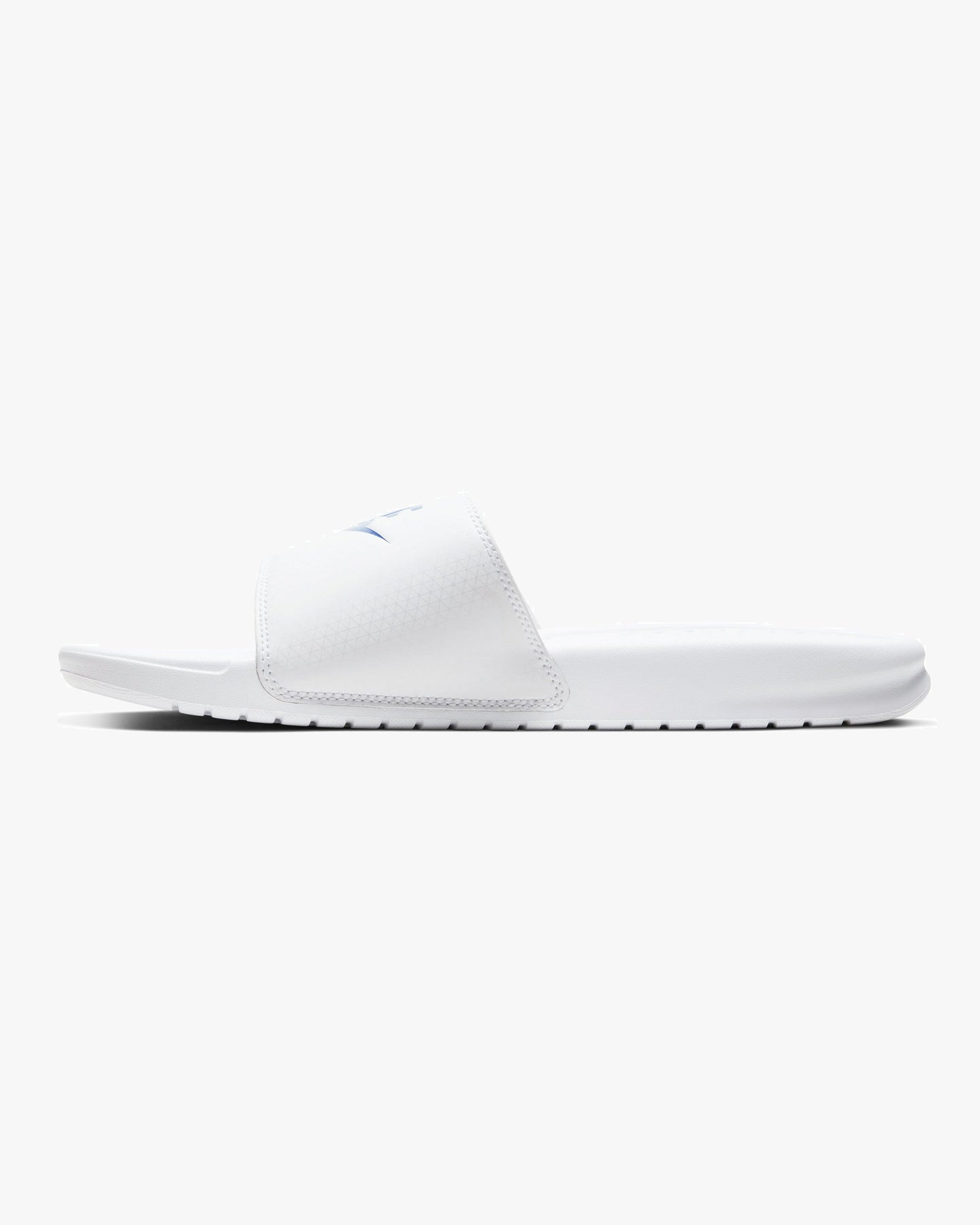 Nike Benassi JDI Sliders - White / Varsity Royal UK 6 3438801026 666003215287 Nike Flip Flops & Sliders Nike Benassi JDI Sliders - White / Varsity Royal - Jeans and Street Fashion from Jeanstore