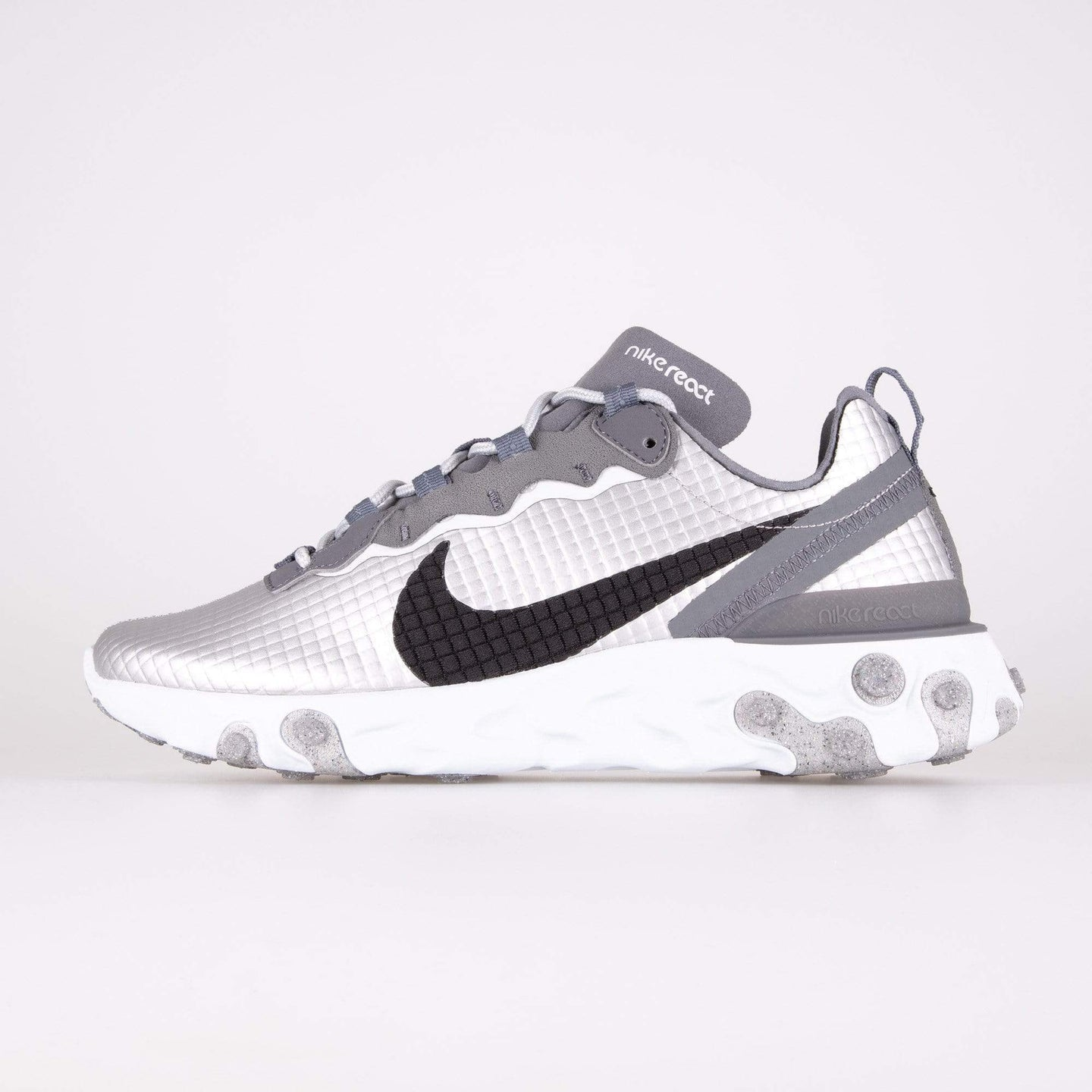 Nike React Element 55 Premium - Metallic Silver / Black UK 7 CI38350017 193151453891 Nike Trainers