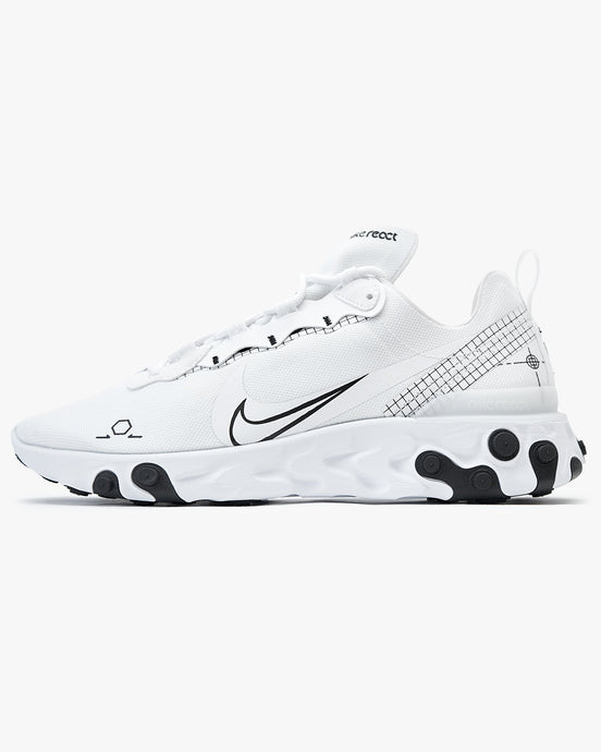 Nike React Element 55 - White / Black UK 7 CU30091007 193657863958 Nike Trainers