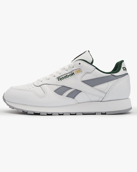 Reebok Classic Leather - White / Cool Shadow / Utility Green UK 7 FV98697 4060517284474 Reebok Classic Trainers