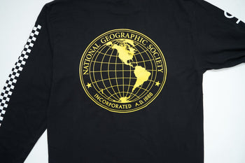 Vans x National Geographic L/S Globe Tee - Black Vans T Shirts