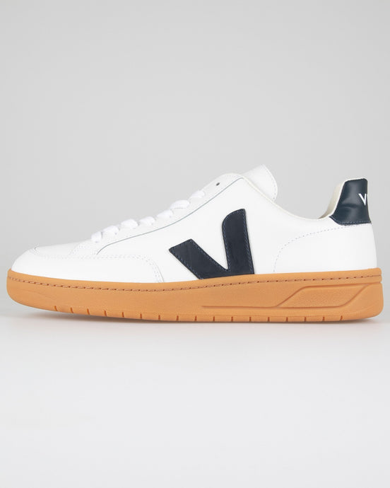 Veja V-12 Leather Sneakers - Extra White / Nautico / Gum Sole UK 7 XDM0221857 3611820648814 Veja Trainers