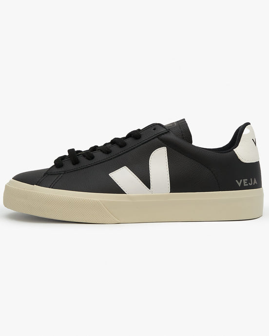 Veja Womens Campo Chromefree Leather Sneakers - Black / White UK 3 CP051215A3 3611820005280 Veja Trainers