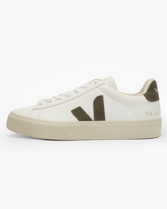 Veja Womens Campo Chromefree Leather Sneakers - Extra White / Khaki UK 3 CP052347A3 3611820007093 Veja Trainers