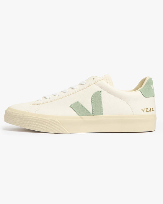 Veja Womens Campo Chromefree Leather Sneakers - Extra White / Matcha UK 4 CPW0524854 Veja Trainers