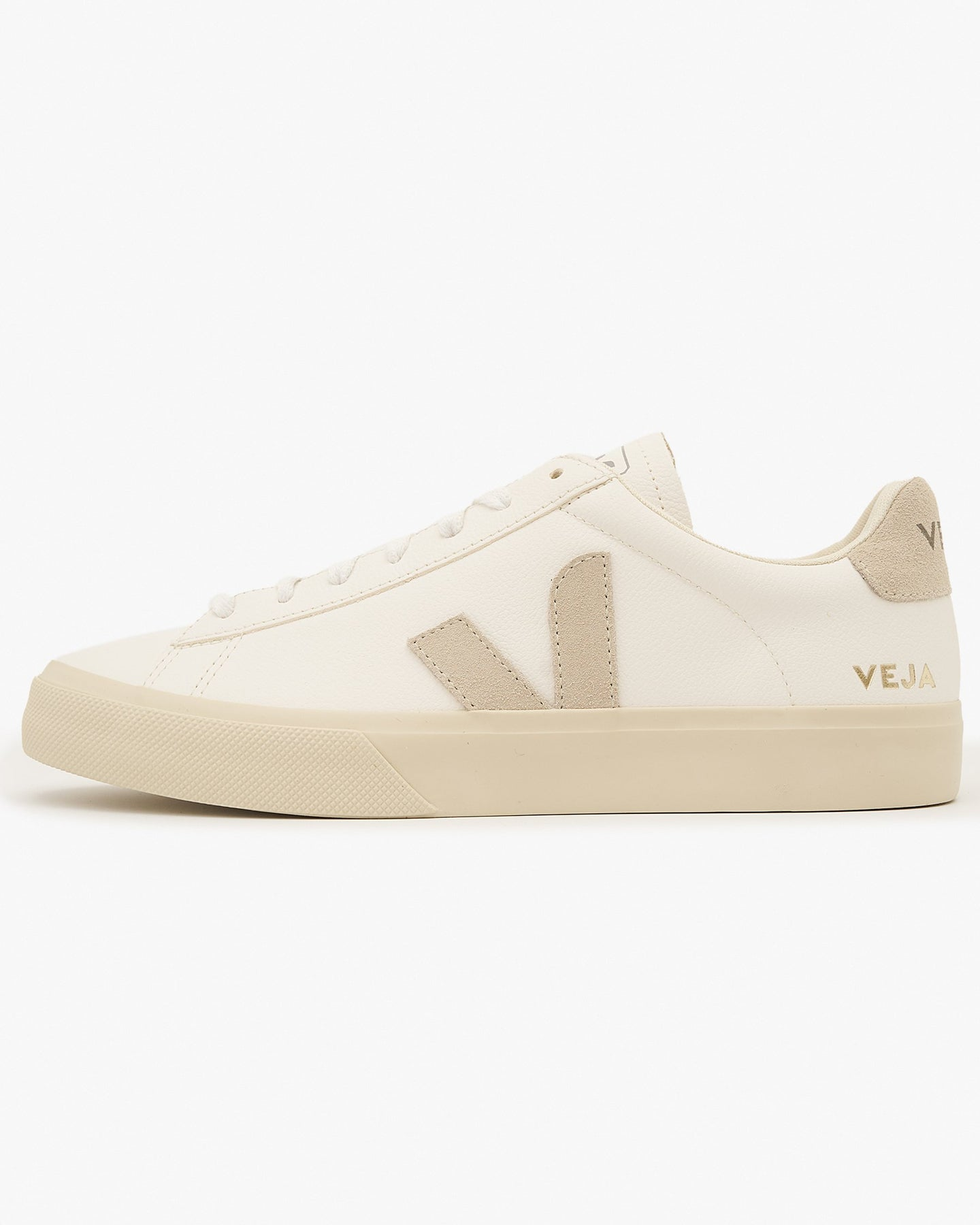Veja Womens Campo Chromefree Leather Sneakers - Extra White / Natural Suede UK 4 CPW0524294 Veja Trainers
