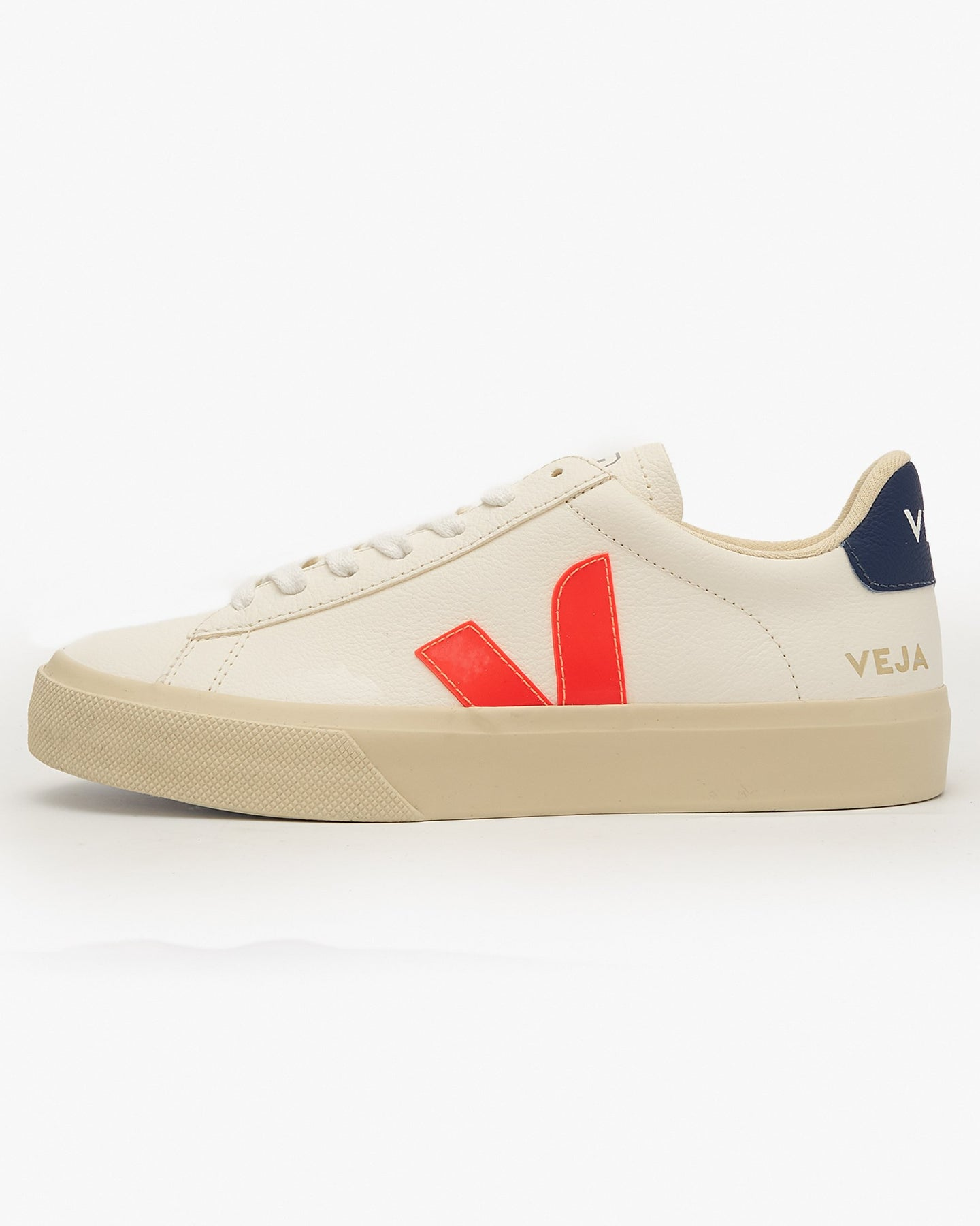 Veja Womens Campo Chromefree Leather Sneakers - Extra White / Orange UK 3 CP052195A3 3611820006577 Veja Trainers