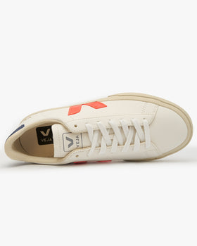 Veja Womens Campo Chromefree Leather Sneakers - Extra White / Orange Veja Trainers