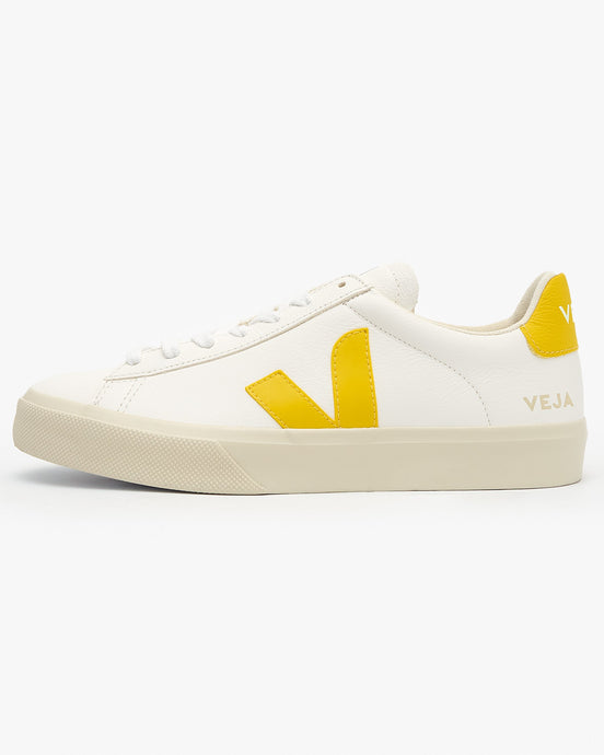 Veja Womens Campo Chromefree Leather Sneakers - Extra White / Tonic UK 3 CP052290A3 3611820006836 Veja Trainers