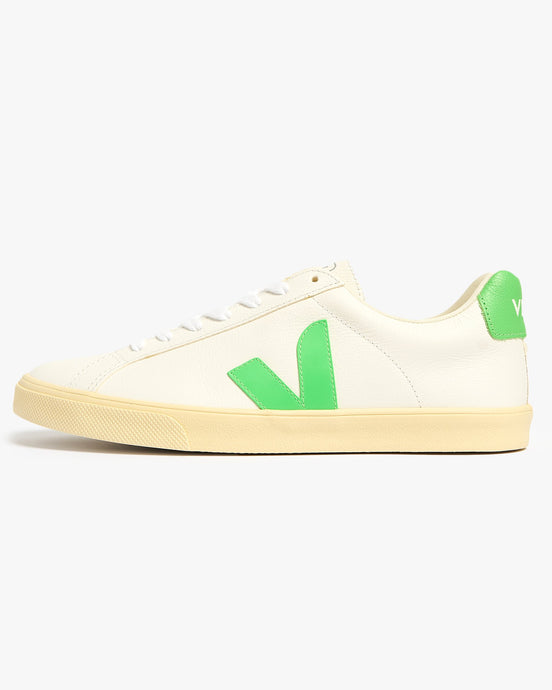 Veja Womens Esplar Chromefree Leather Sneakers - Extra White / Absinthe / Butter Sole UK 4 EOW0525714 Veja Trainers
