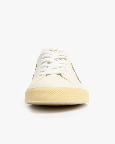 Veja Womens Esplar Chromefree Leather Sneakers - Extra White / Oxford Grey Veja Trainers