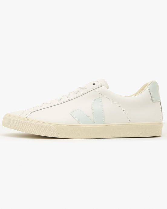 Veja Womens Esplar Leather Sneakers - Extra White / Menthol UK 4 EOW0221984 Veja Trainers