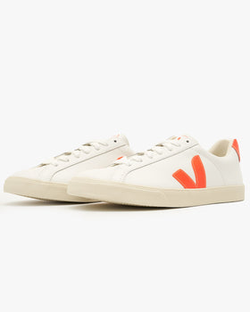 Veja Womens Esplar Leather Sneakers - Extra White / Orange Fluo Veja Trainers